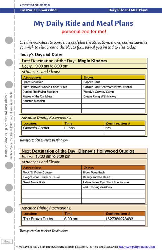 Disney Daily Ride and Meal Plan eWorksheet – My Daily Food Plan Worksheet
