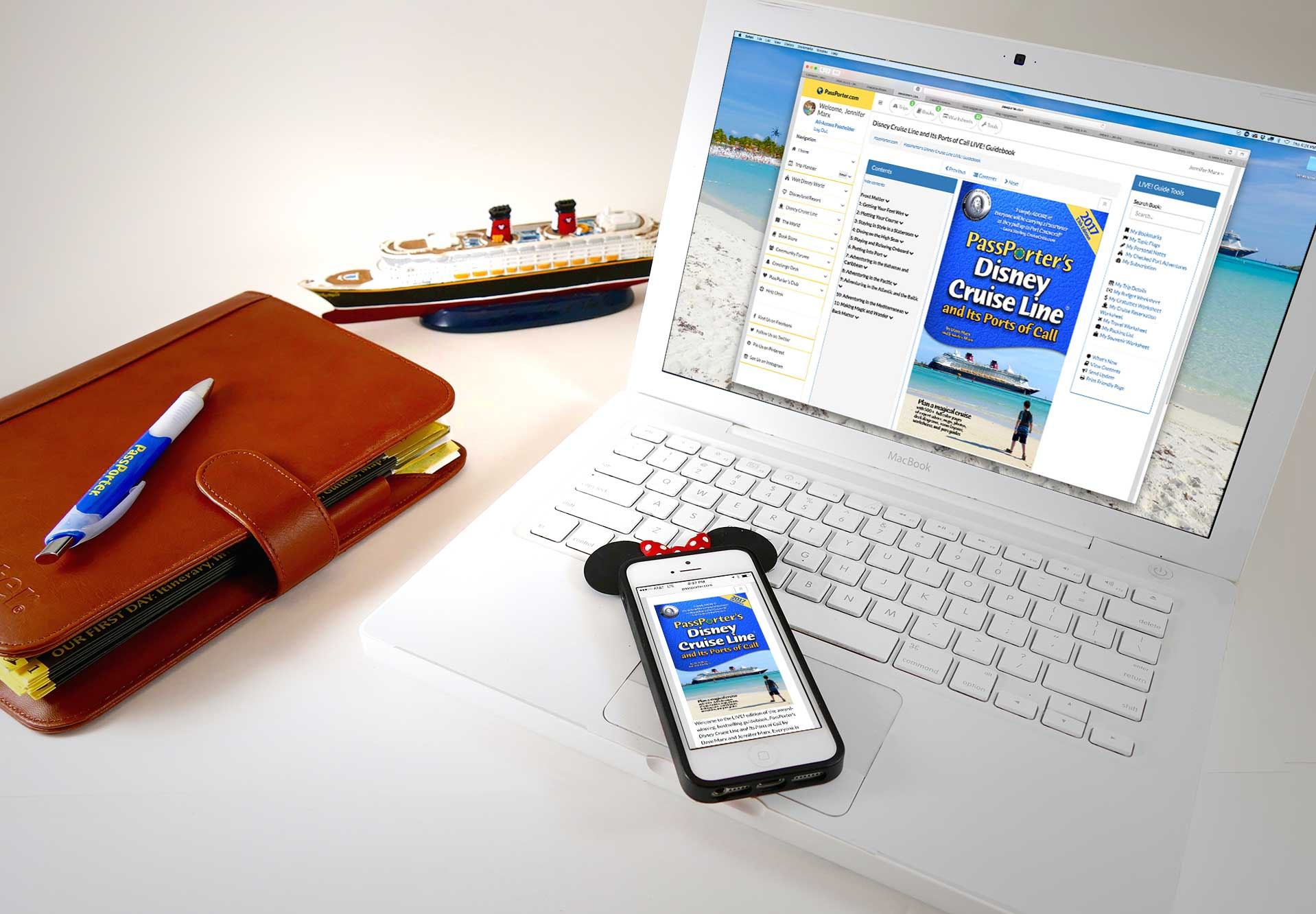 PassPorter Disney Cruise LIVE! Guide on Laptop and phone