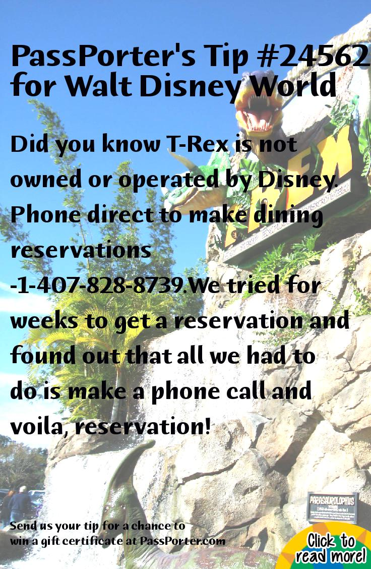 More recent tips for Disney dining reservations t rex
