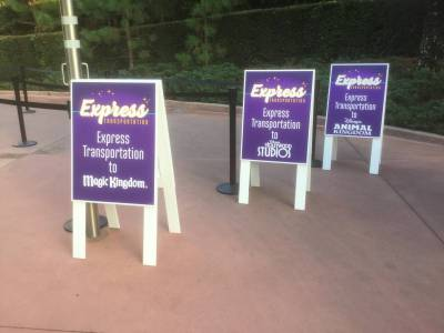 Photo illustrating Disneys-Express-Transfer-Sign_Small