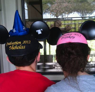Photo illustrating <font size=1>Never too old to wear Mickey ears!