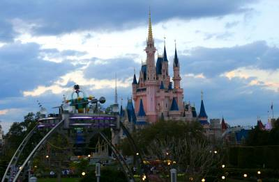 Photo illustrating <font size=1>Cinderella Castle at Twilight