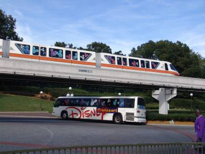 Disney bus and monorail