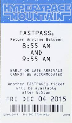 Photo illustrating <font size=1>Disneyland--Tomorrowland--Hyperspace Mountain FASTPASS