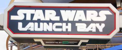 Photo illustrating Disneyland--Tomorrowland--Star Wars Launch Bay sign