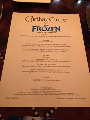 The Frozen Dining Package at Disney's California Adventure
