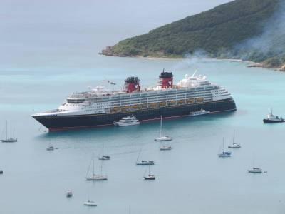 Photo illustrating <font size=1>Disney Magic anchored at St. Thomas