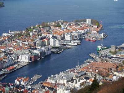 Photo illustrating Bergen - from Floyen mountain