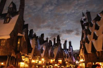 Photo illustrating Islands of Adventure - Hogsmeade at Night