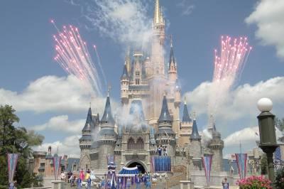 Magic Kingdom Daytime Fireworks Over The Castle