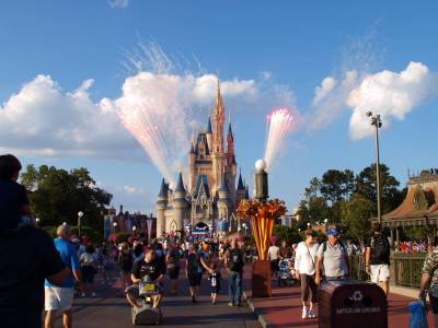 Photo illustrating <font size=1>Castle with Fireworks during day