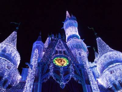 Photo illustrating Cinderella Castle- Christmas Lights