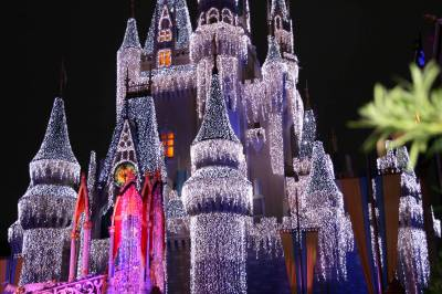 Cinderella Castle Christmas Lights.Close Up Of Cinderella S Castle Christmas Lights