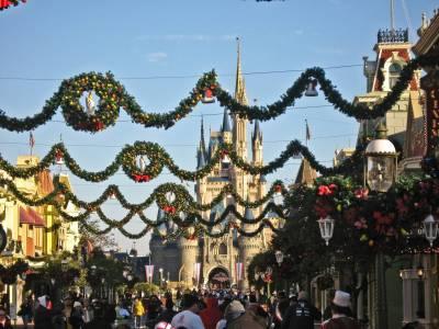 Photo illustrating <font size=1>Magic Kingdom - Main Street Christmas Decorations