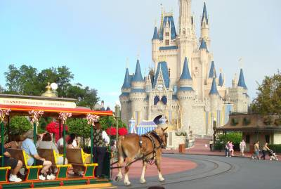 Main Street Trolley On Its Way to Cinderella Castle at the Magic Kingdom