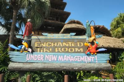 Photo illustrating <font size=1>Magic Kingdom - Enchanted Tiki Room - Under New Management Sign