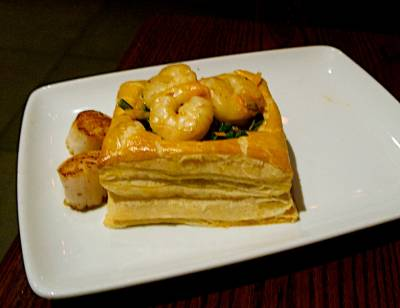 Photo illustrating <font size=1>Be Our Guest - Saut�ed Shrimp and Scallops in Puff Pastry