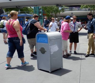 Photo illustrating PUSH, the talking trashcan