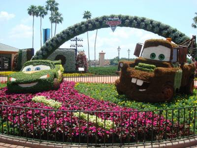 Photo illustrating <font size=1>Epcot - Cars 2 topiary display