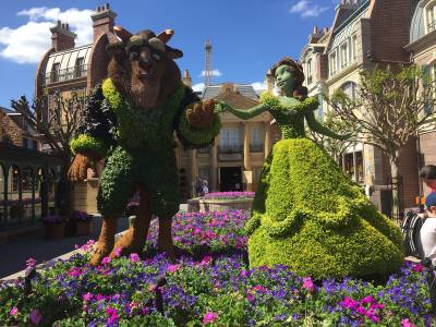 Photo illustrating <font size=1>Beauty and the Beast Topiary at Epcot