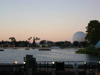 Photo illustrating Epcot - World Showcase lagoon at twilight