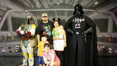 Photo illustrating SWW Breakfast with Darth Vader and Boba Fett