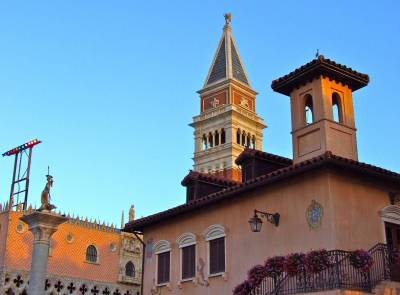 Photo illustrating Epcot Italy Pavilion at the Golden Hour