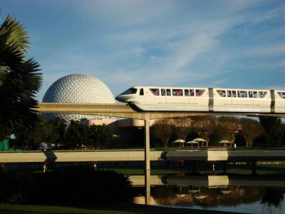 Epcot - Spaceship Earth and monorail