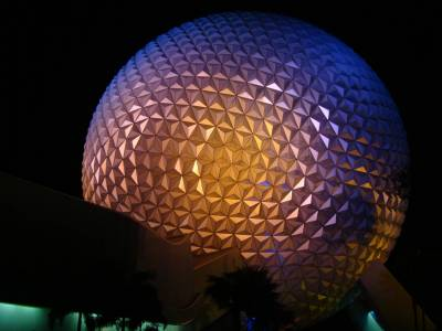 Epcot - Spaceship Earth at night photo