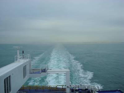 Ferry to Calais - looking back to the UK photo