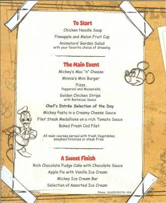 Disney Dream Animators Palate Kids Dinner Menu Passporter Photos