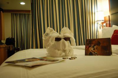 Photo illustrating Disney Dream--Towel Animals left during evening turn-down