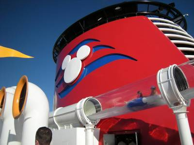 Photo illustrating Disney Dream - AquaDuck Riders Whiz by the Funnel