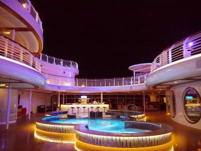 Disney Fantasy - adult pool at night photo