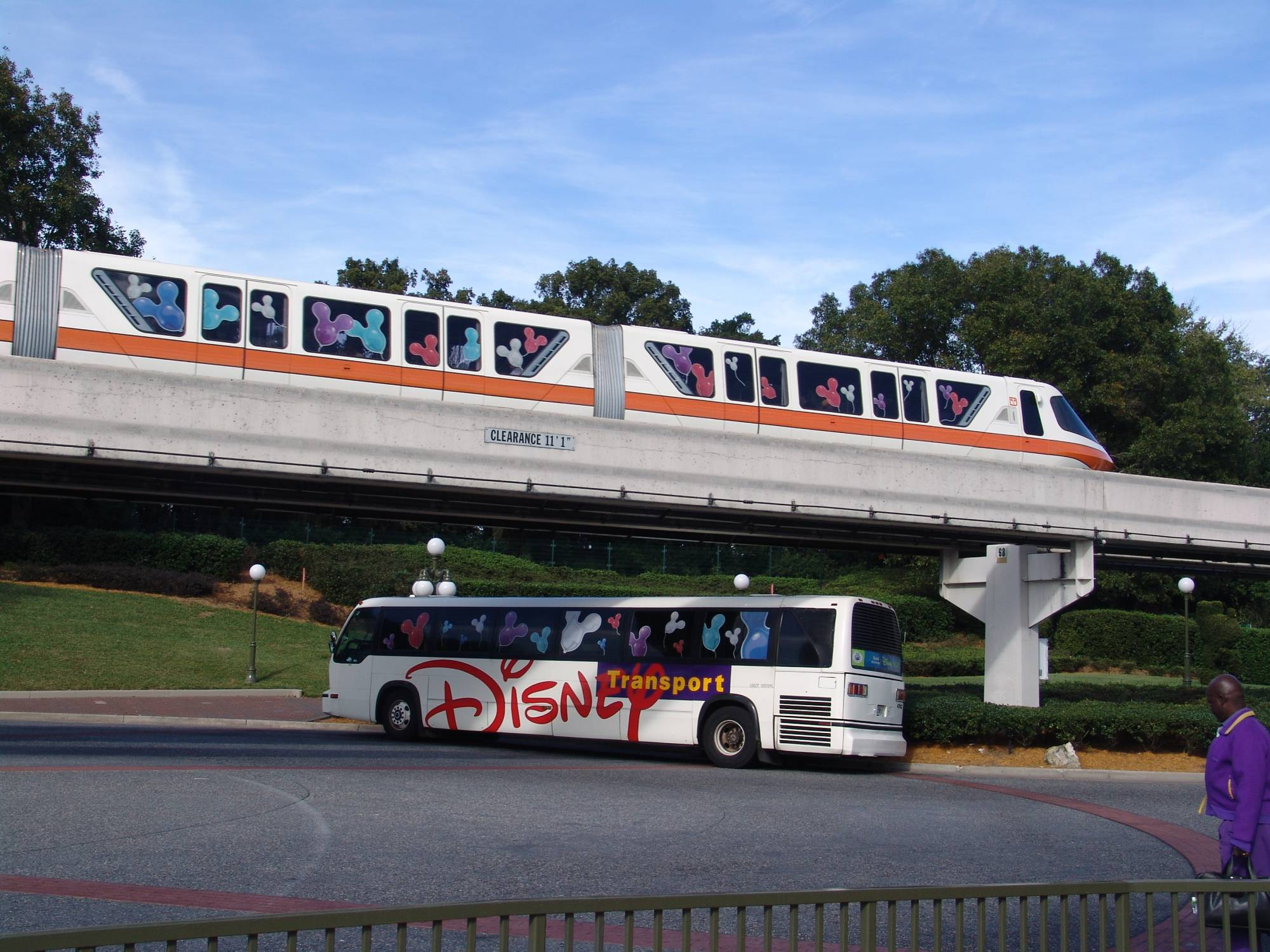 Disney bus and monorail photo