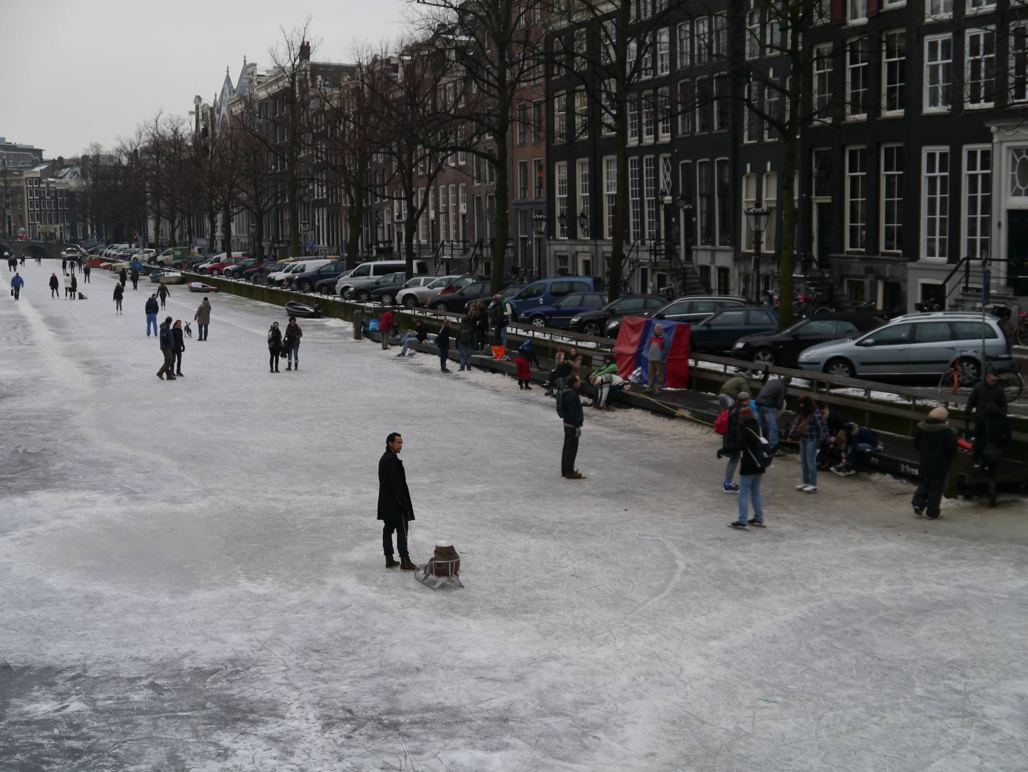 Amsterdam - skaters on canal photo