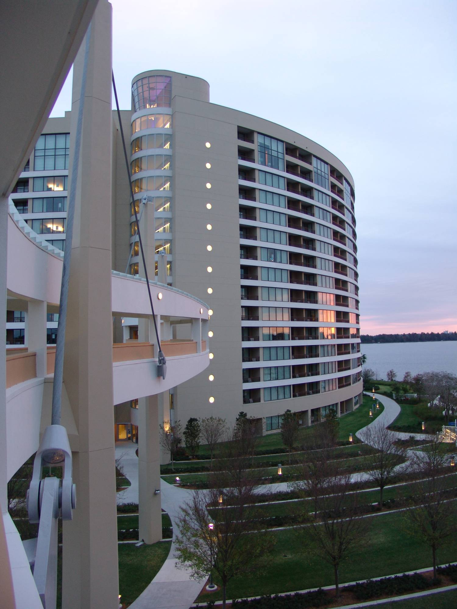 Bay Lake Tower - exterior shot at sunrise