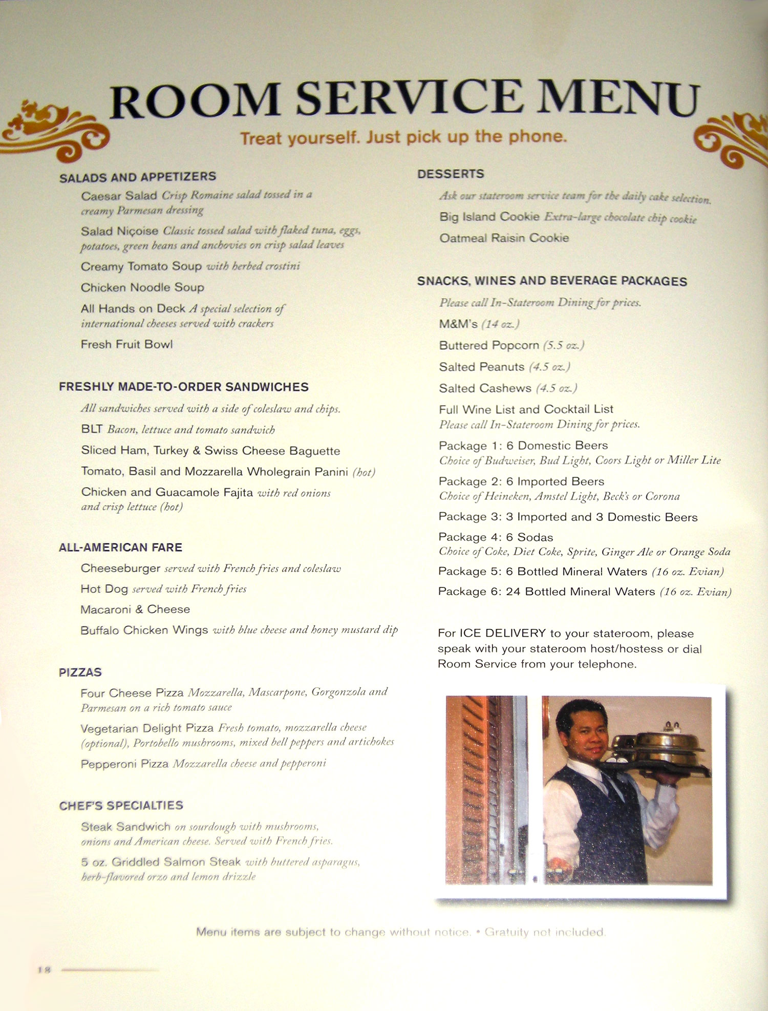 Disney Dream - Room Service All-Day Menu