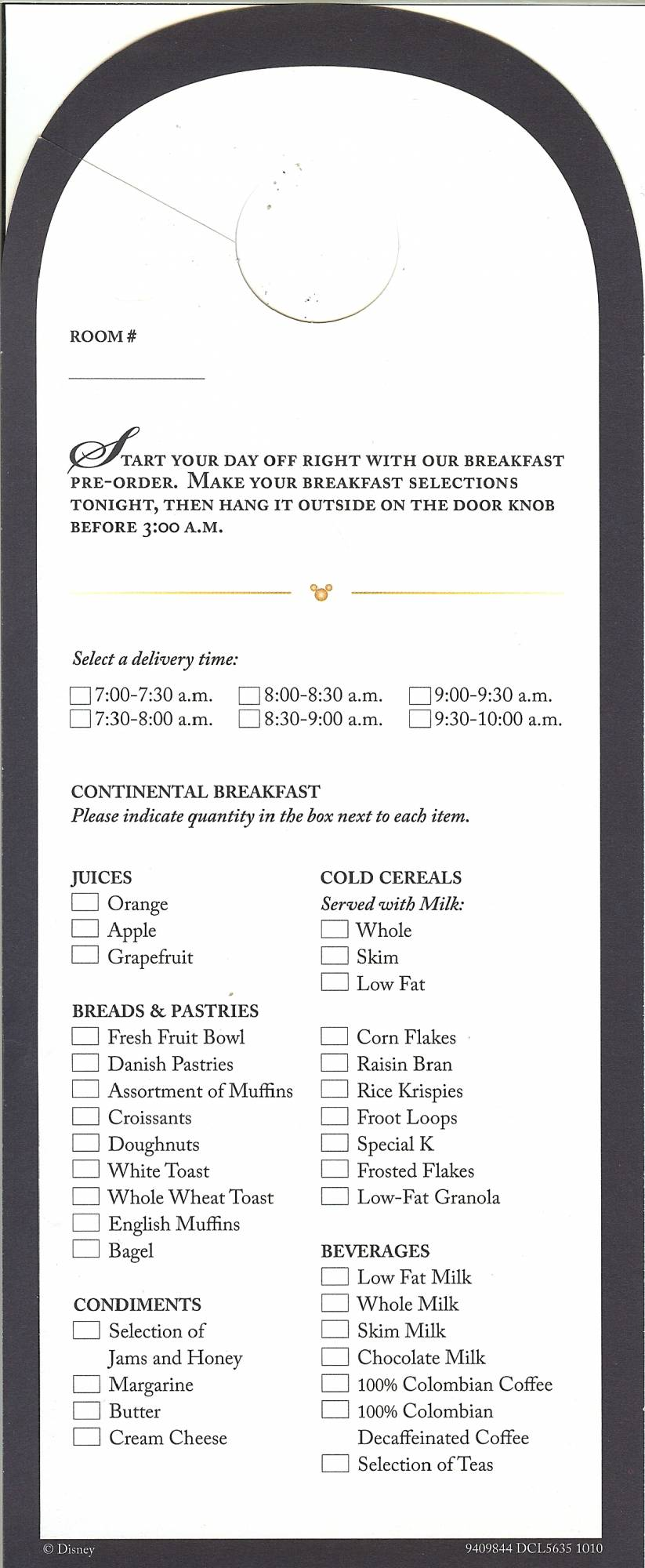 Disney Dream - Room Service Breakfast Menu
