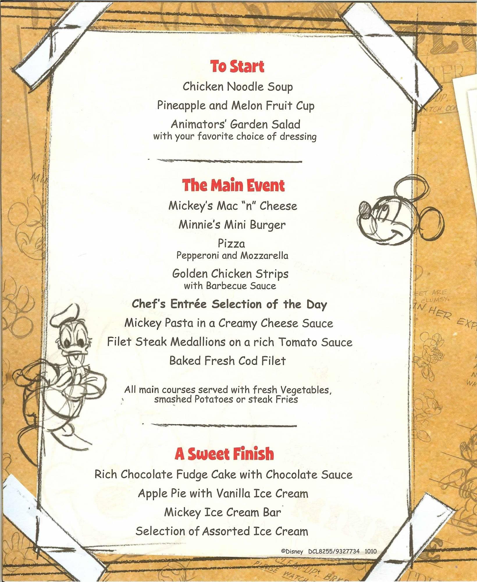 Disney Dream - Animators' Palate Kids Dinner Menu