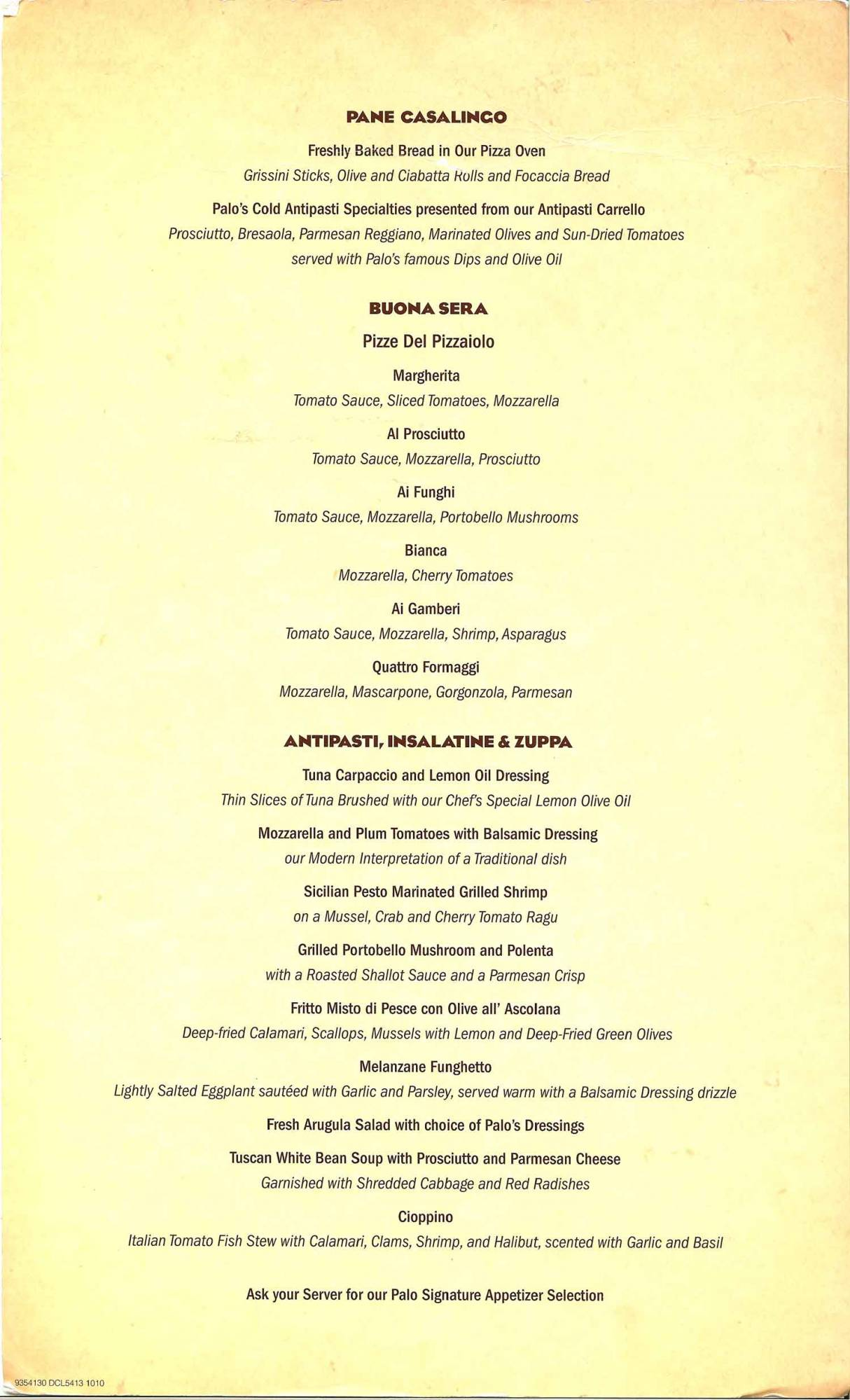 Disney Dream - Palo Dinner Menu 1/2