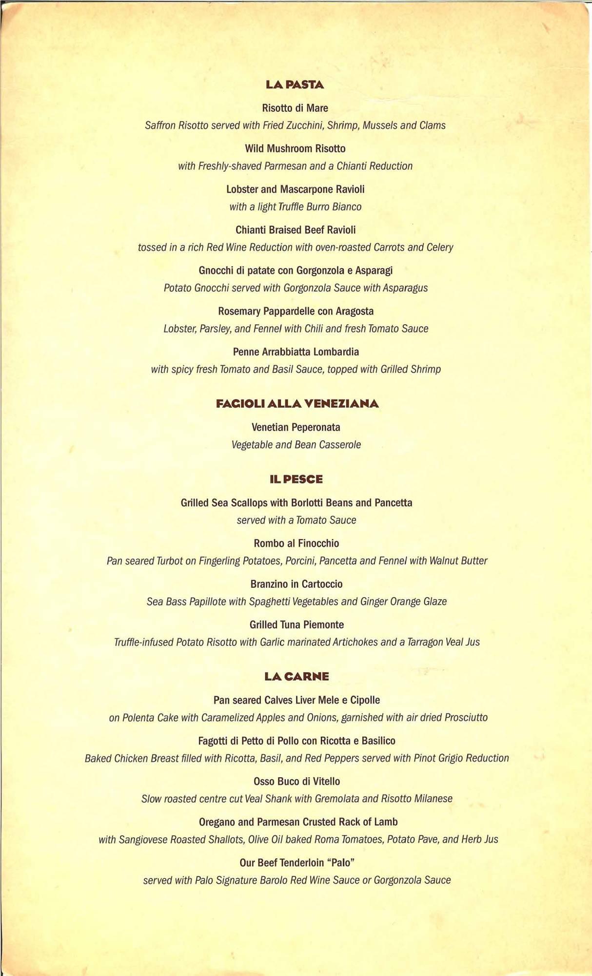 Disney Dream - Palo Dinner Menu 2/2