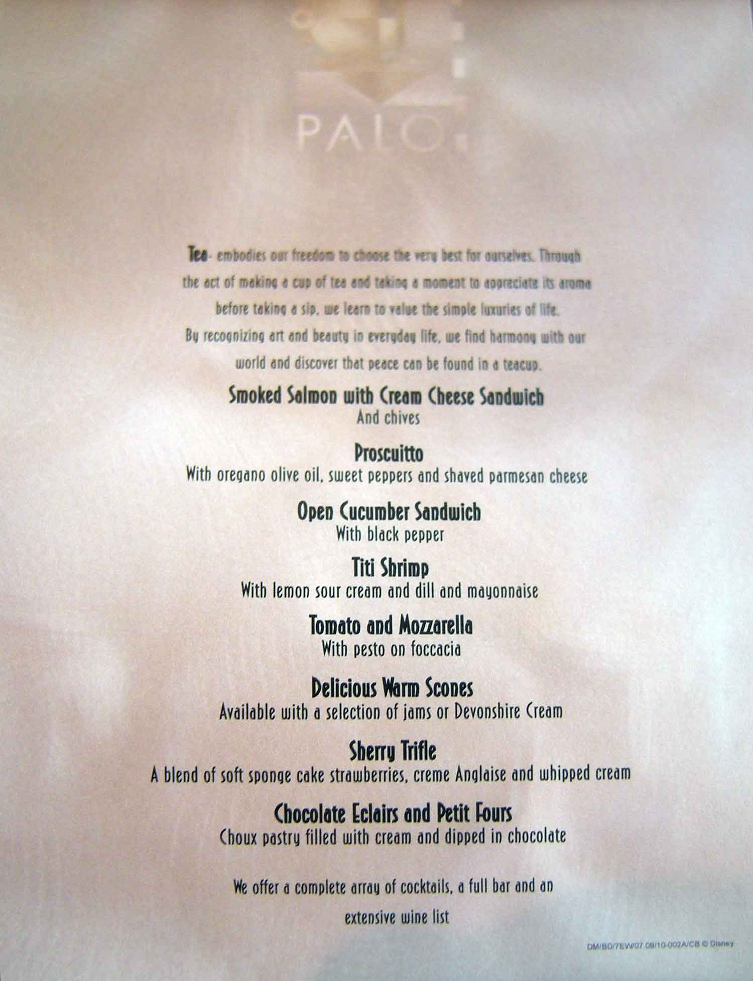 Disney Dream - Palo High Tea Menu 1/2