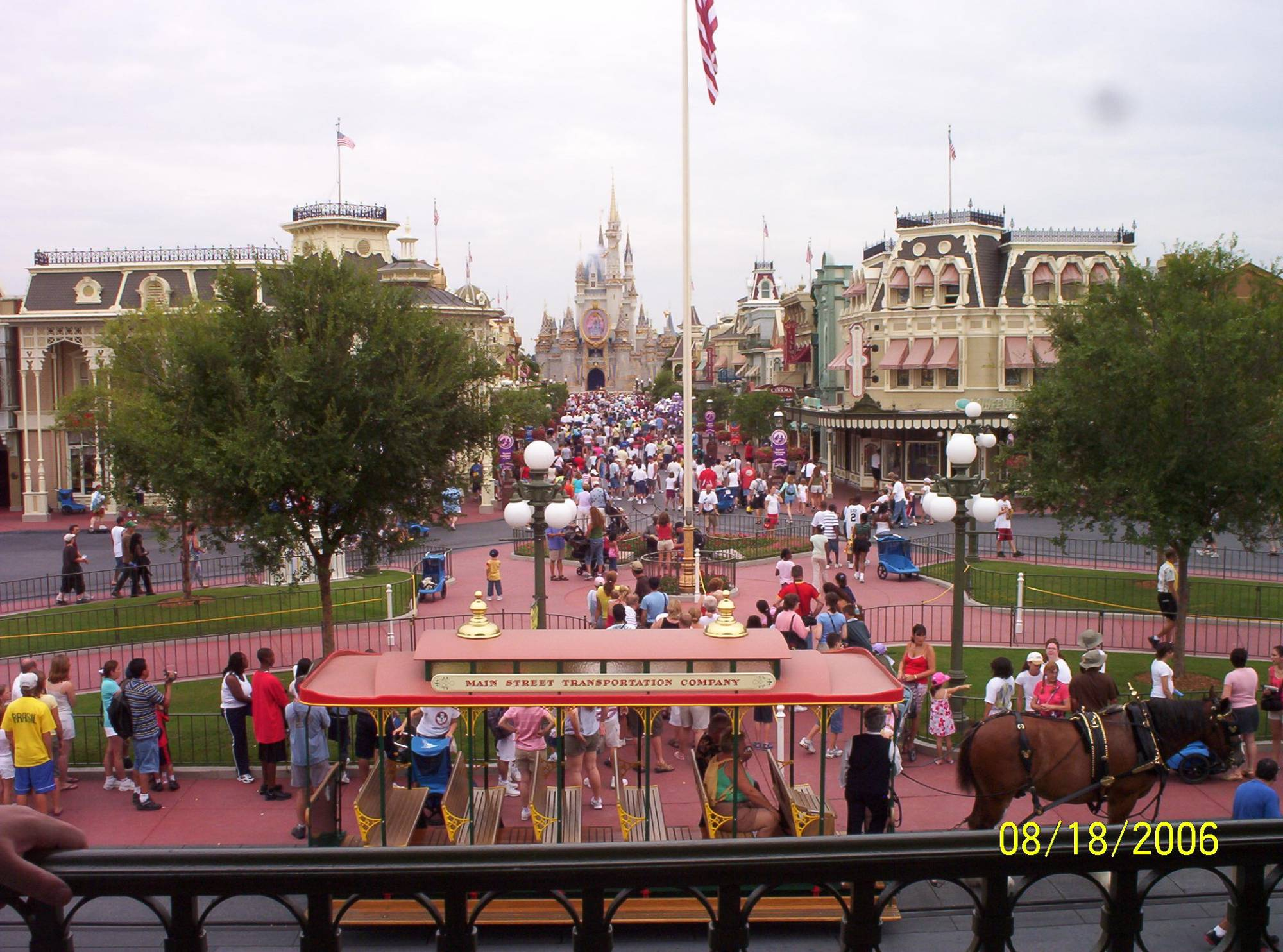 Main Street USA  -  Main Street Trolley and Cinderella's Castle