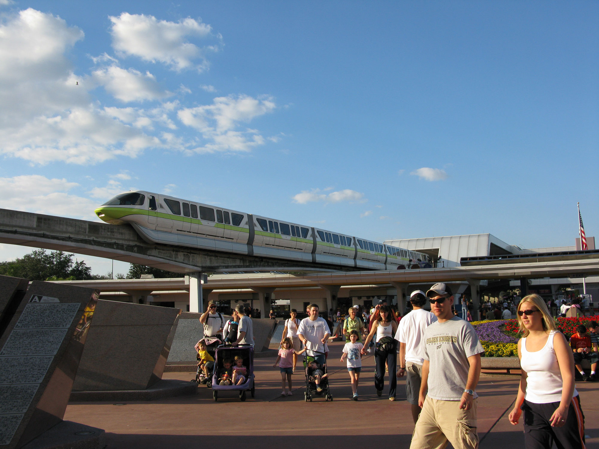 Lime Green monorail at Epcot entrance