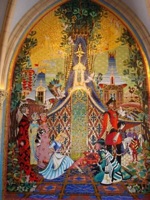 Magic kingdom cinderella castle murals passporter photos for Cinderella castle mural